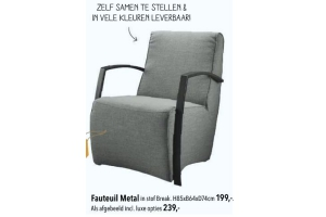 fauteuil metal voor 199. Black Bedroom Furniture Sets. Home Design Ideas